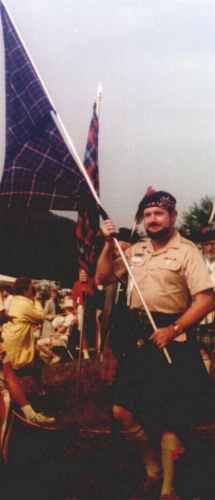 Richard Dunlop in 1982 parading the Dunlop tartan for the first ever showing of the Black n the Blue