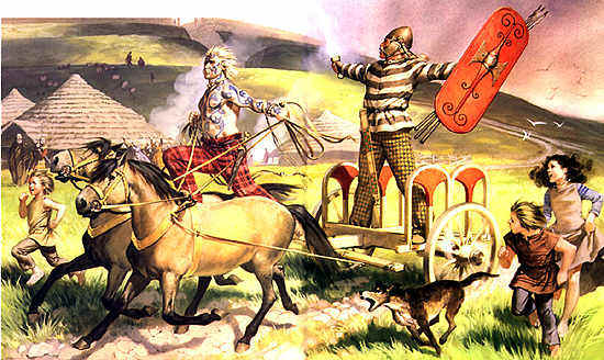 "Picture from ""Rome's Enemies Gallic and British Celts"" by Peter Wilcox and Angus MacBride. Picture is based on archeological findings and is accurate for 100BCE."