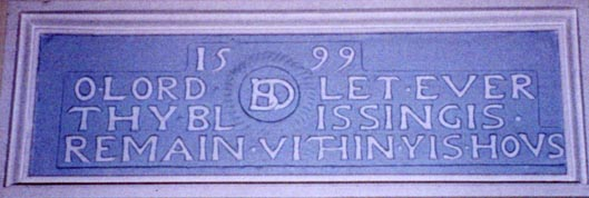 Blessing Plaque from third Dunlop House bulit in 1599